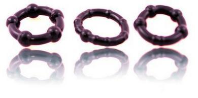 Beaded C Rings 3 Pieces  - Black