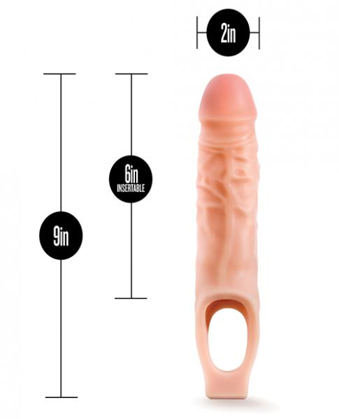 Performance Plus 9 inches Silicone Cock Sheath Penis Extender Beige