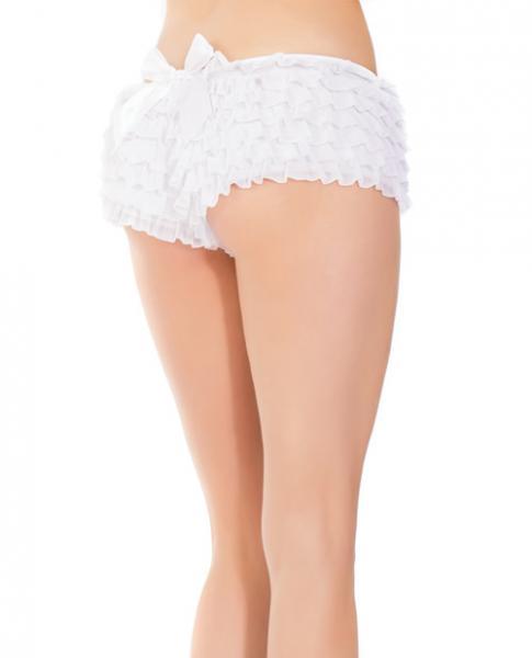 Ruffle Shorts Back Bow Detail White O/S