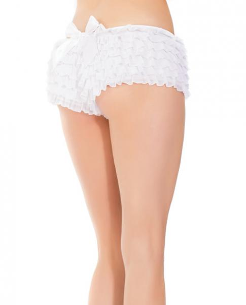 Ruffle Shorts Back Bow Detail White OS/XL