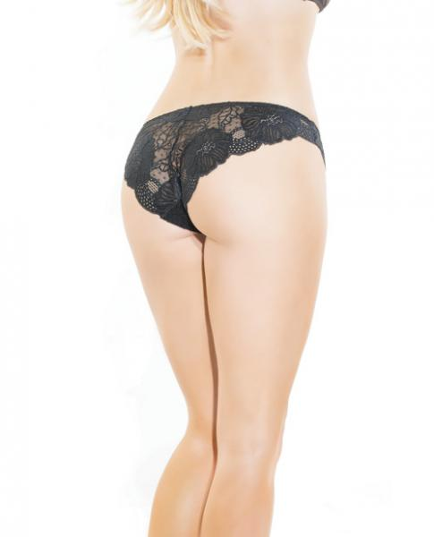 Low Rise Stretch Scallop Lace Panty Black O/S