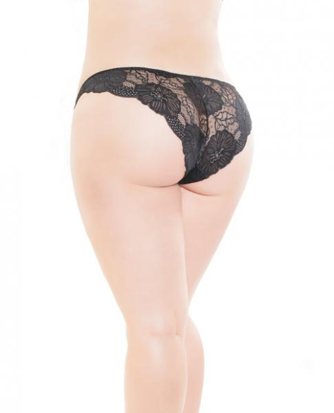 Low Rise Stretch Scallop Lace Panty Black OS/XL
