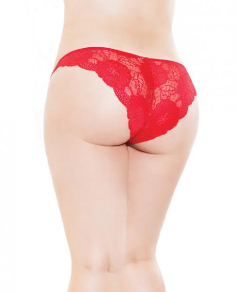 Low Rise Stretch Scallop Lace Panty Red OS/XL