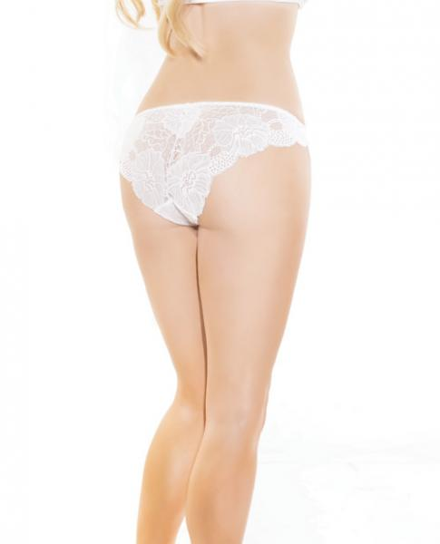 Low Rise Stretch Scallop Lace Panty White O/S