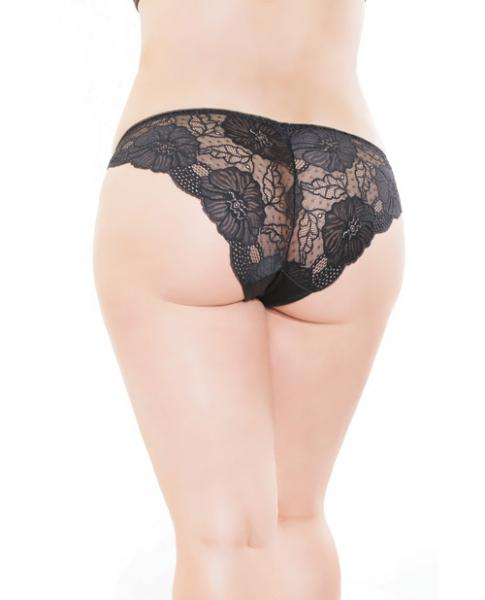 Low Rise Stretch Lace & Satin Panty Black Red OS/XL