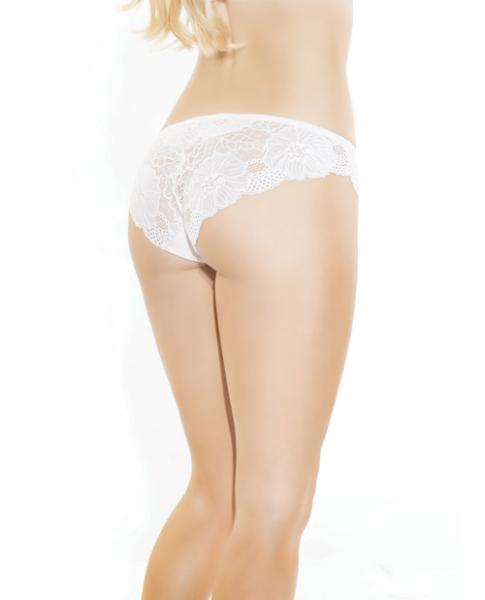 Low Rise Stretch Lace & Satin Panty White Blue O/S
