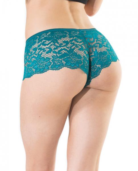 Low Rise Stretch Scallop Lace Booty Shorts Teal O/S