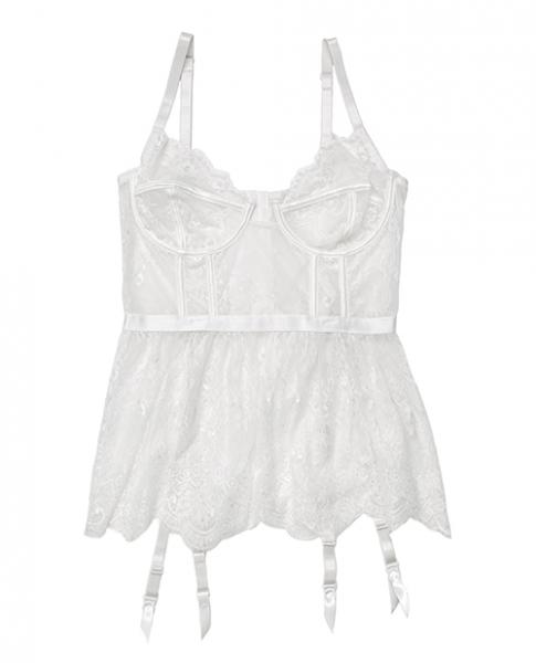 Lace, Powernet Underwire Cups Peplum Bustier White 1X/2X