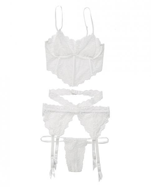 Lace Long Line Bra, Garter Belt & G-String White O/S