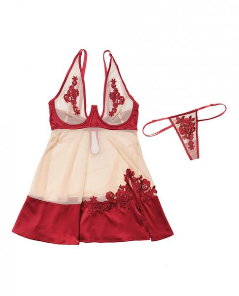Nylon, Satin Babydoll Underwire Cups & G-String Red Nude Lg
