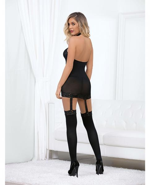 High Neck Bustier Bodysuit with Thigh Highs Black O/S