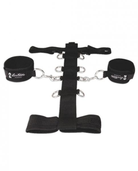 Lux Fetish 3 Piece Adjustable Neck & Wristraint Set Black