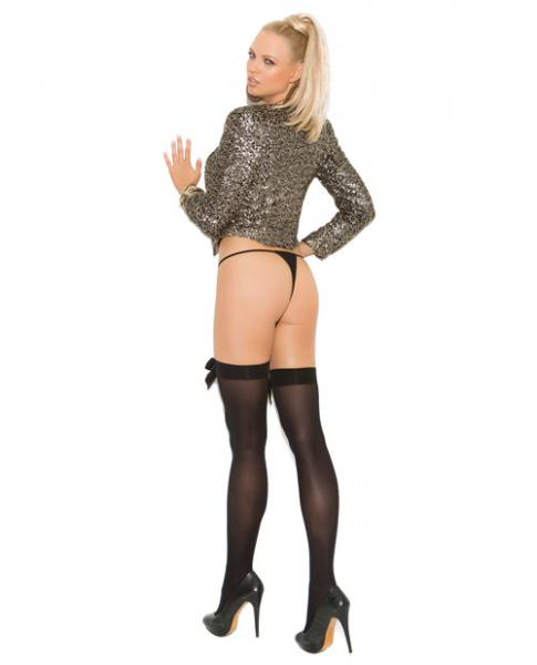 Opaque Thigh High Stockings Satin Bow Black O/S