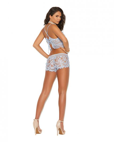 Xena Lace Cami Top & Booty Shorts Blue Small