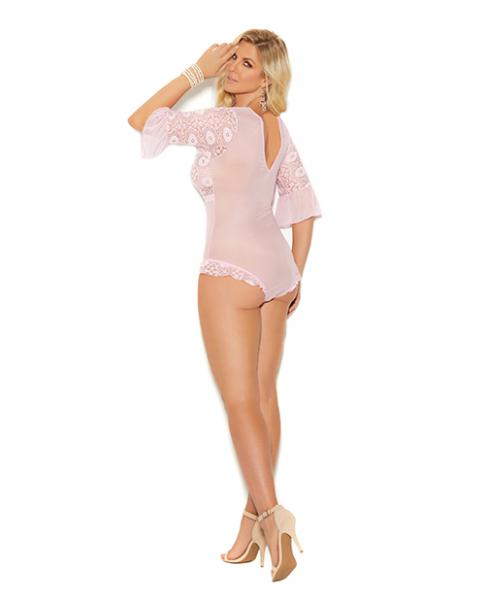 Blakely Lace & Mesh Teddy Short Sleeves Pink 2X