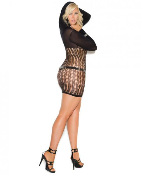 Vivace Crochet Long Sleeve Mini Dress Hood Black Qn