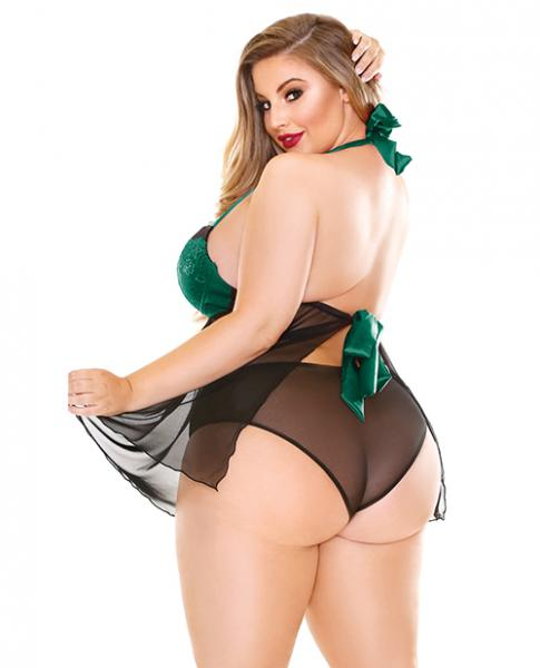 Curve Sonia Halter Tie Babydoll & Panty Green 1X/2X