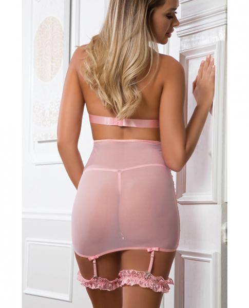 Lace Up Empire Waist Garter Dress Sweet Pink O/S