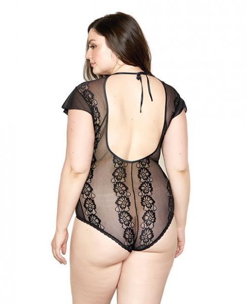 Sheer Lace Floral Ruffle Sleeve Teddy Black 2X