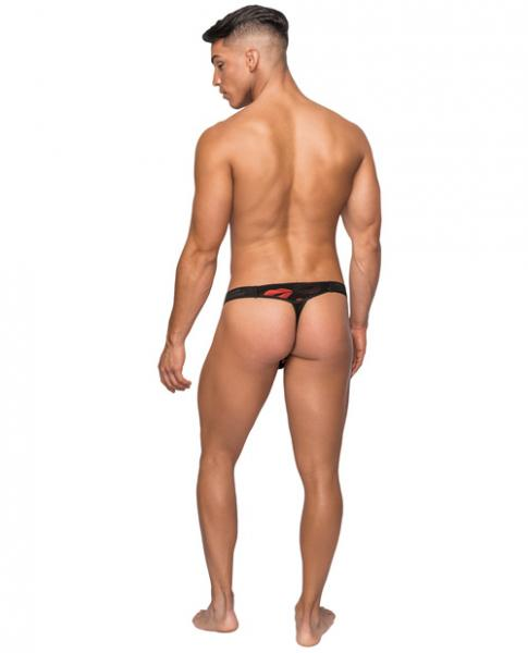 Kiss Me Mesh Micro Thong V Black Red S/M