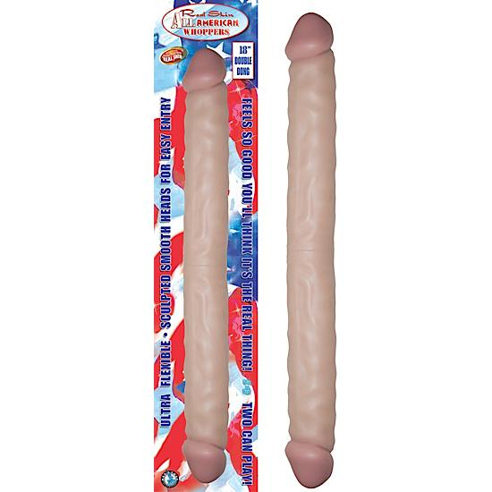 """Real Skin All American Whoppers Double Dong 18"""" - Beige"""