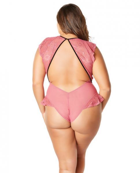 Flutter Sleeve Plunge Bodysuit Harness Neckline Pink Black 3X