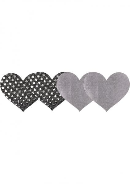 Dark Angel Hearts Pasties Silver