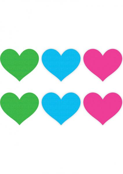Neon Heart Pasties Value Pack Of 3 O/S