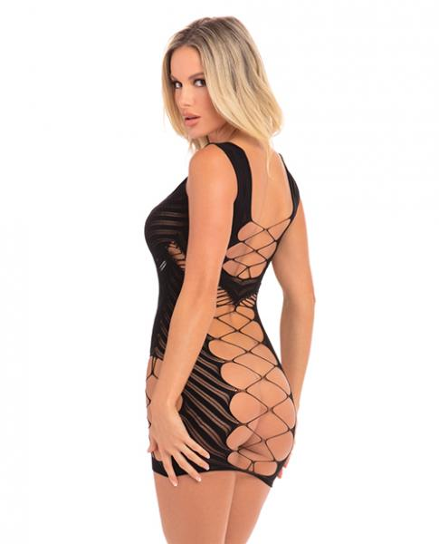 Vertical Hold Open Mini Dress Black O/S