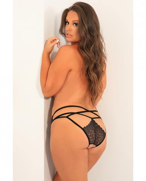 Rene Rofe No Restrictions Crotchless Panty Black 1X/2X
