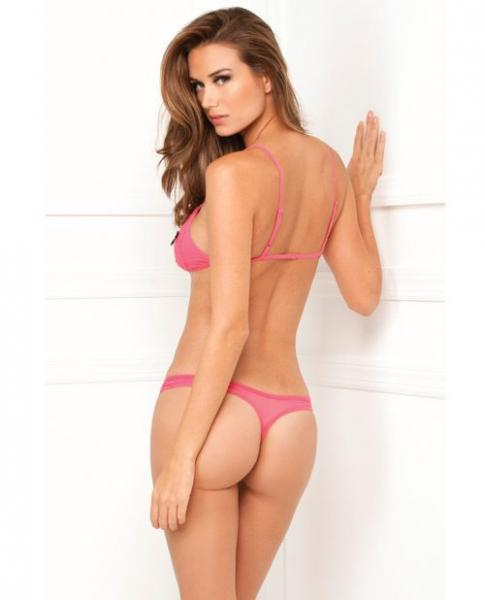 Rene rofe lace peek-a-boo and crotchless thong pink m/l