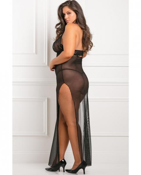All Out There 2 Piece Gown Set Black 1X/2X