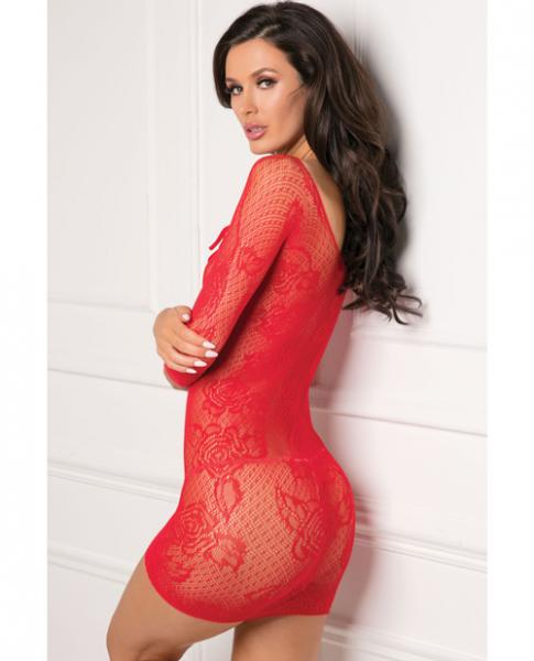 Rene Rofe Tie Breaker Long Sleeve Dress Red O/S