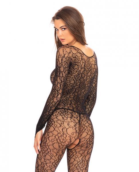 Rene Rofe Crotchless Lace Bodystocking Black S/M