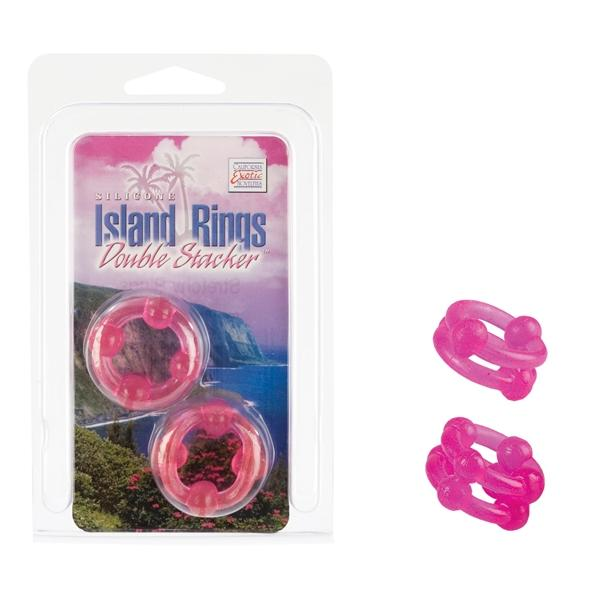 Island rings double stacker - pink