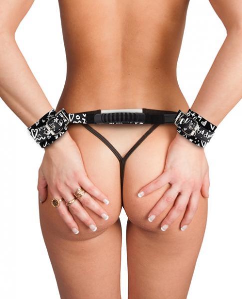 Printed Handcuffs Love Street Art Fashion with Handle Black