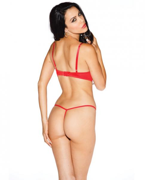 Lace Underwire Open Tip Bra Red 36
