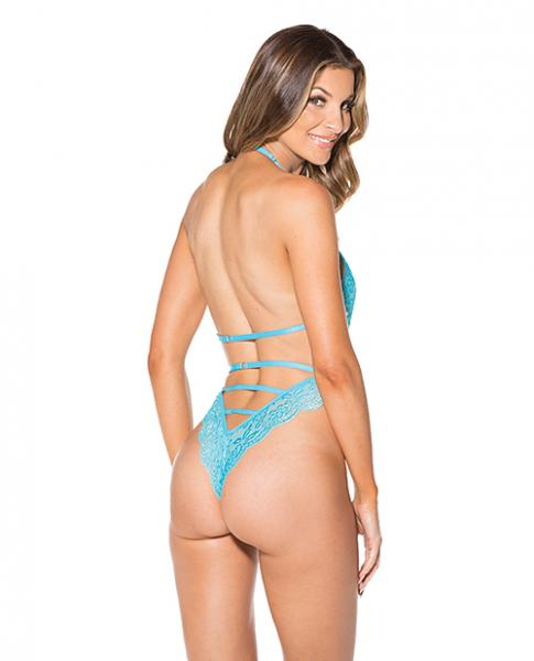 Lace Strappy Back Thong Teddy Turquoise 2X