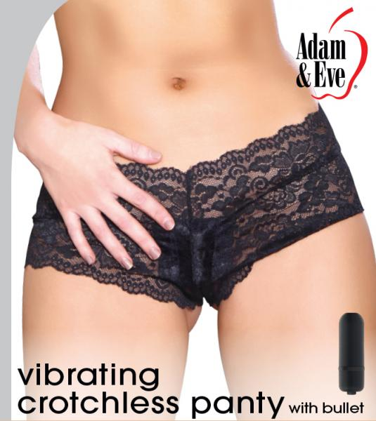 Cheeky Crotchless Panty With Bullet Vibrator Black Os On -2031