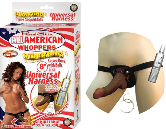 Real Skin Afro American Whoppers Vibrating 8 Inch Dong With Harness - Brown