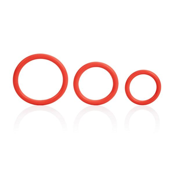 Tri-Rings Red Cock Ring Set