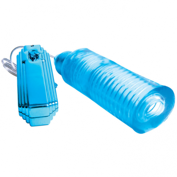 Cyberskin Solo Slider 5X Blue Vibrating Sleeve