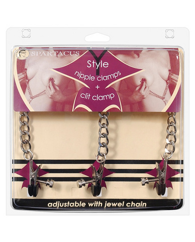 Y Style Adjustable Broad Tip Nipple Clamps With Clit Clamp Silver