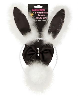 Bachelorette 3pc bunny set w/bendy ears