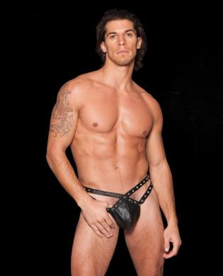 Faux Leather Strappy Studded Thong w/an Elastic Wasitband Black O/S Sex Toy Product