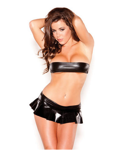Kitten Flirty Skirt & Bandeau Top Set Black O/S