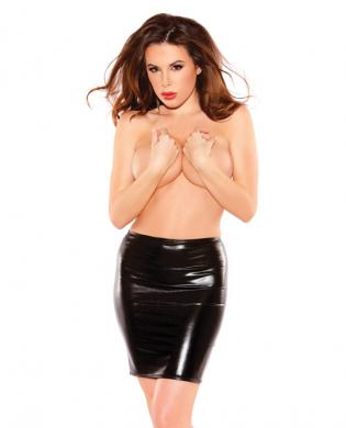 Kitten wet look pencil skirt black o/s