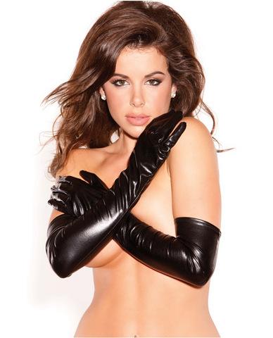 Kitten wet look sexy seduction gloves black o/s