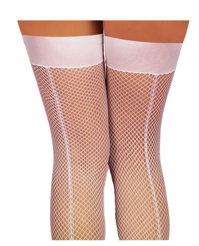 Fishnet thigh high w/back seam white o/s
