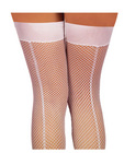 Fishnet thigh high w/back seam white o/s Sex Toy Product